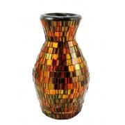 Vaso em Cerâmica em Mosaico de Vidro cor Laranja/Dourado e Preto ( 22cm )