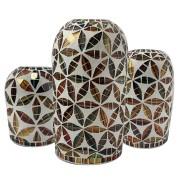 Vaso Floral em Cerâmica com Mosaico Colorido em Vidro [15/20/25cm]