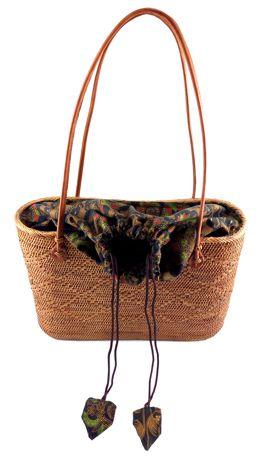 Bolsa  em Rattan - Interior de Tecido ( 35cm )