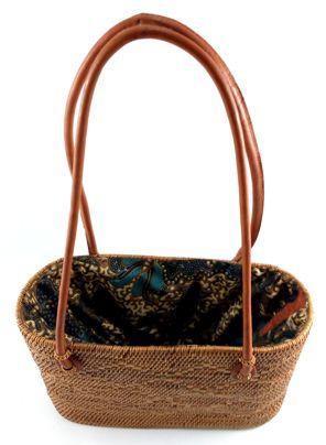 Bolsa em Rattan - Interior de Tecido ( 20 cm )