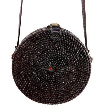 Bolsa Rattan Circular ( Preta ) com Interior em Tecido ( 8 cm )