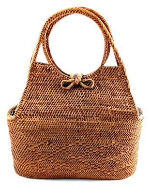 Bolsa Tote em Rattan com Interior em Tecido ( 20cm )