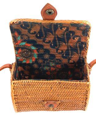 Bolsa Tiracolo em Rattan com Interior em Tecido ( 15 cm )