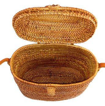 Bolsa Baú Tradicional de Ombro em Rattan (20 cm)
