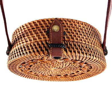 Bolsa Circular com Trançado Tradicional em Rattan e Interior em Tecido ( 20cm )