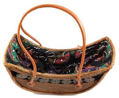 Bolsa Tradicional em Rattan Aberta com Interior em Tecido ( 28cm )