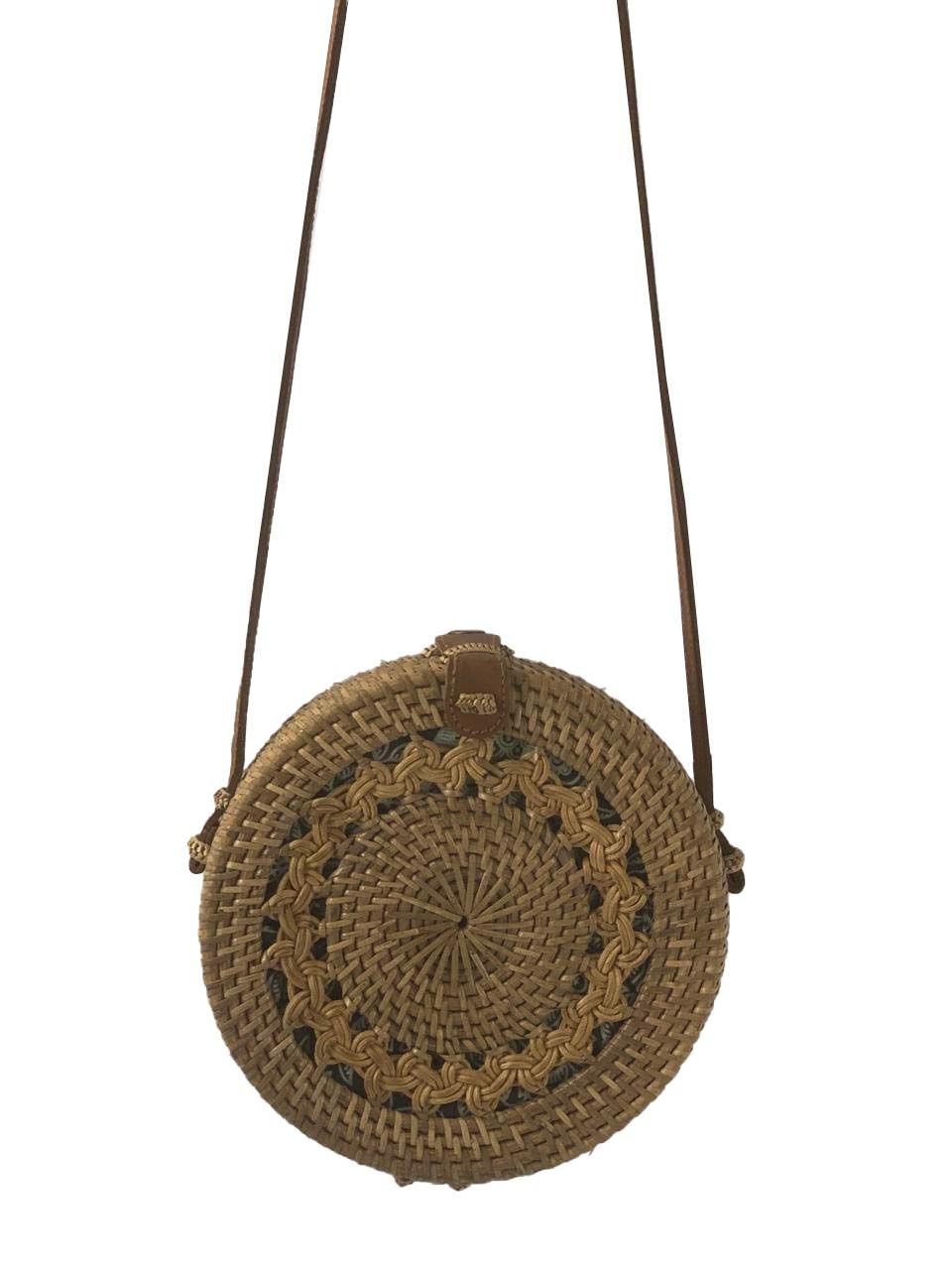 Bolsa Circular com Trançado Tradicional em Rattan e Interior em Tecido Verde ( Alça 60cm - Bolsa 20cm )