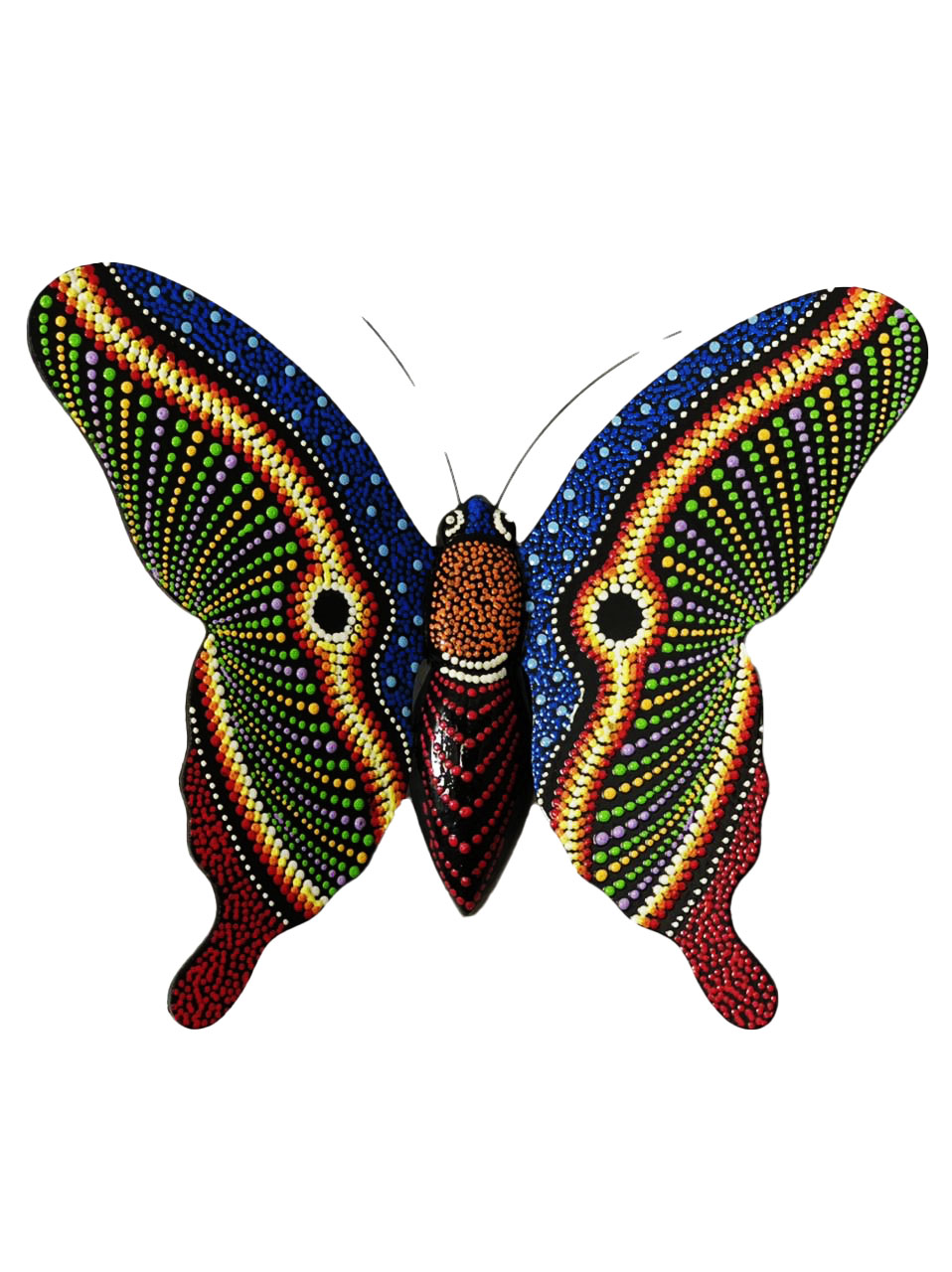Borboleta p/ Parede - Multicolorida em Pontilhismo ( 20cm )
