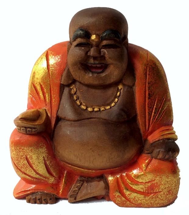 Escultura Buda Maitreya (Hotei) em Madeira Suar com Robes em Laranja ( 10 cm )