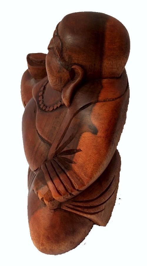 Escultura Buda Maitreya (Hotei) em Madeira Suar em Tom Natural ( 12 cm )
