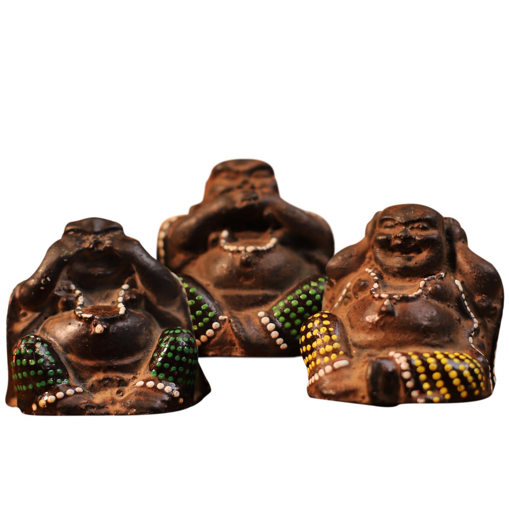 Buda Maitreya - Regra de Ouro - Pintura Pontilhismo ( Não ouço/vejo/falo ) ( 5cm )
