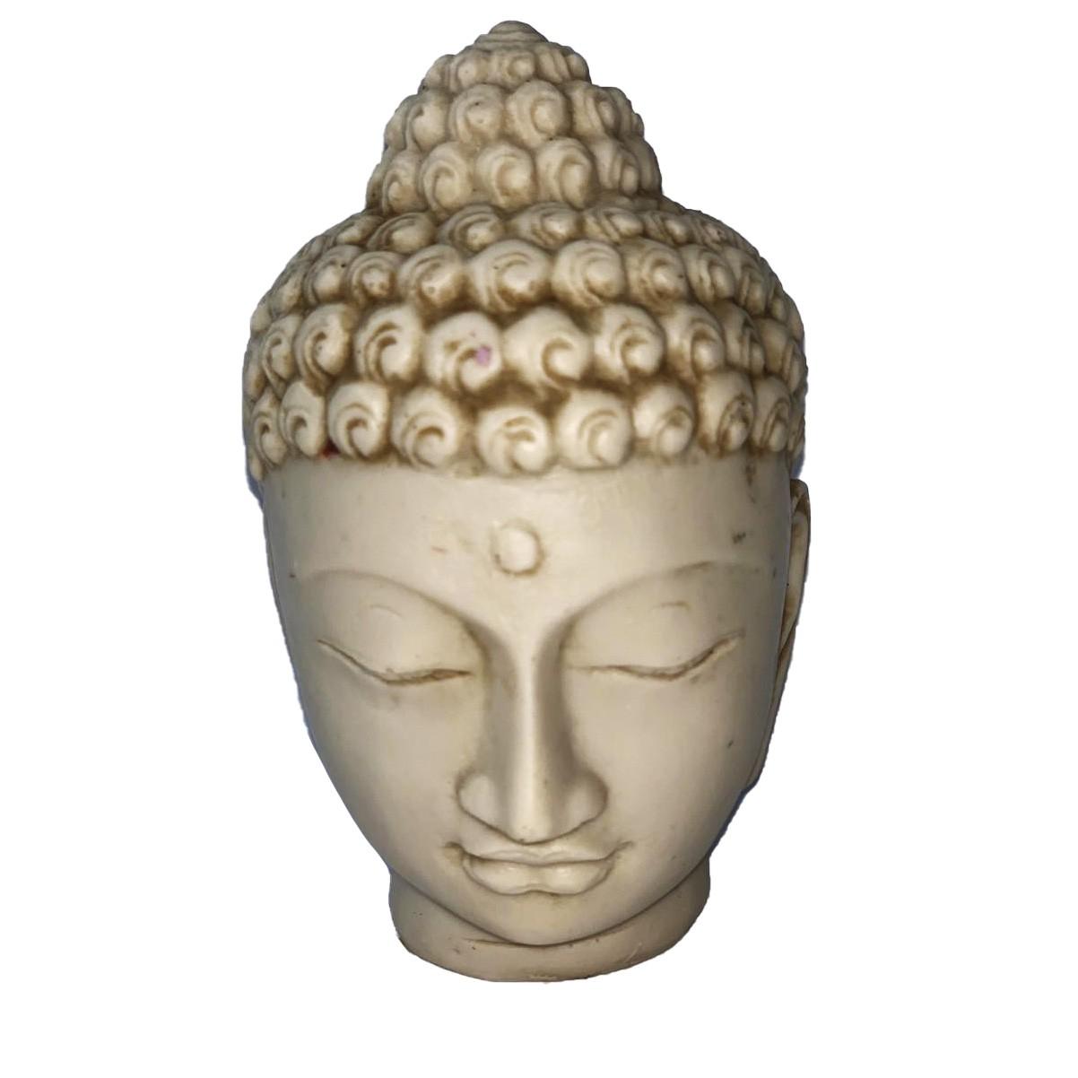 Buda Sidartha em Resina - Cabeça em Resina Branca  ( 12 cm )