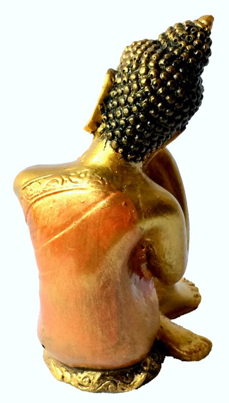 Buda Sidartha Repousando Sentado em Resina Dourada com Robes em Laranja ( 25 cm )