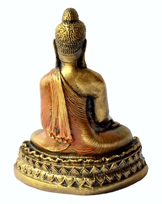 Escultura Buda Sidartha sobre Pedestal em Resina Dourada com Robes em Laranja ( 25 cm )