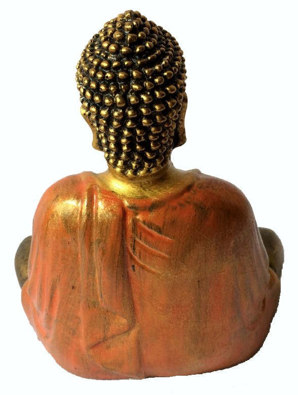 Buda Sidartha em Resina Dourada com Robes em Laranja ( 20 cm )