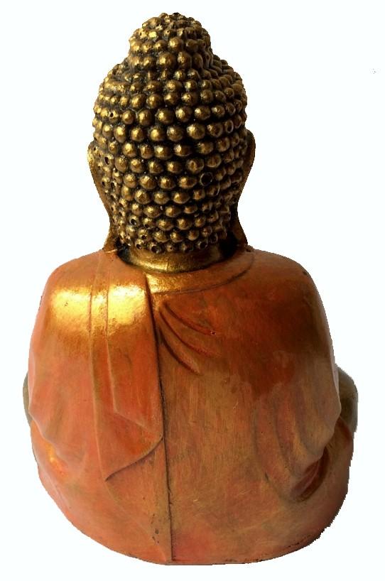 Buda Sidartha em Resina Dourada com Robes em Laranja ( 25 cm )