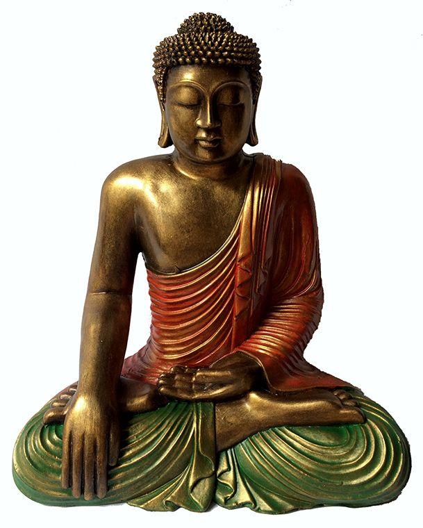 Buda Sidartha em Resina com Robes em Laranja e Verde ( 40 cm )