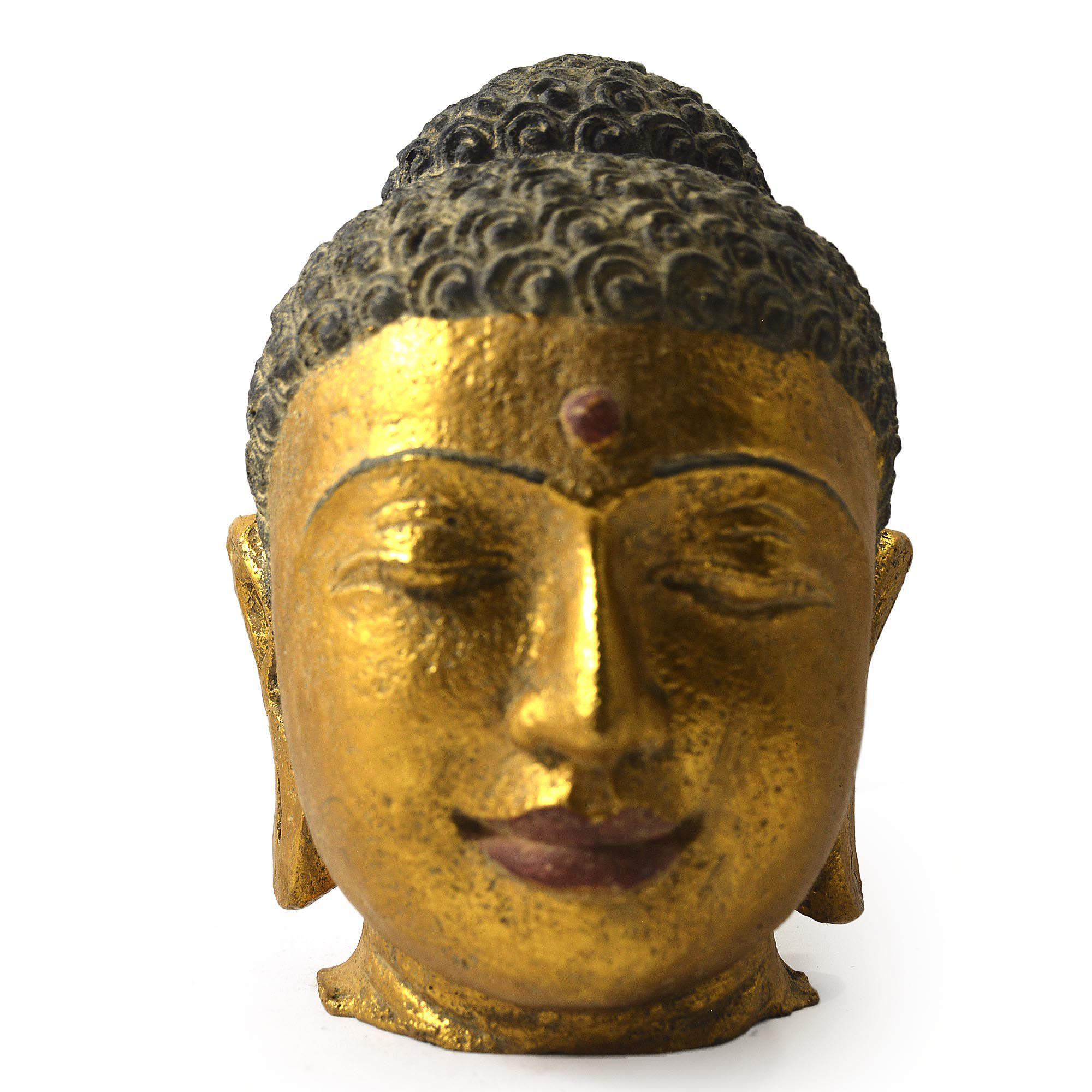 Buda Sidartha em Resina - Cabeça Cor Preto e Dourado ( 25 cm )