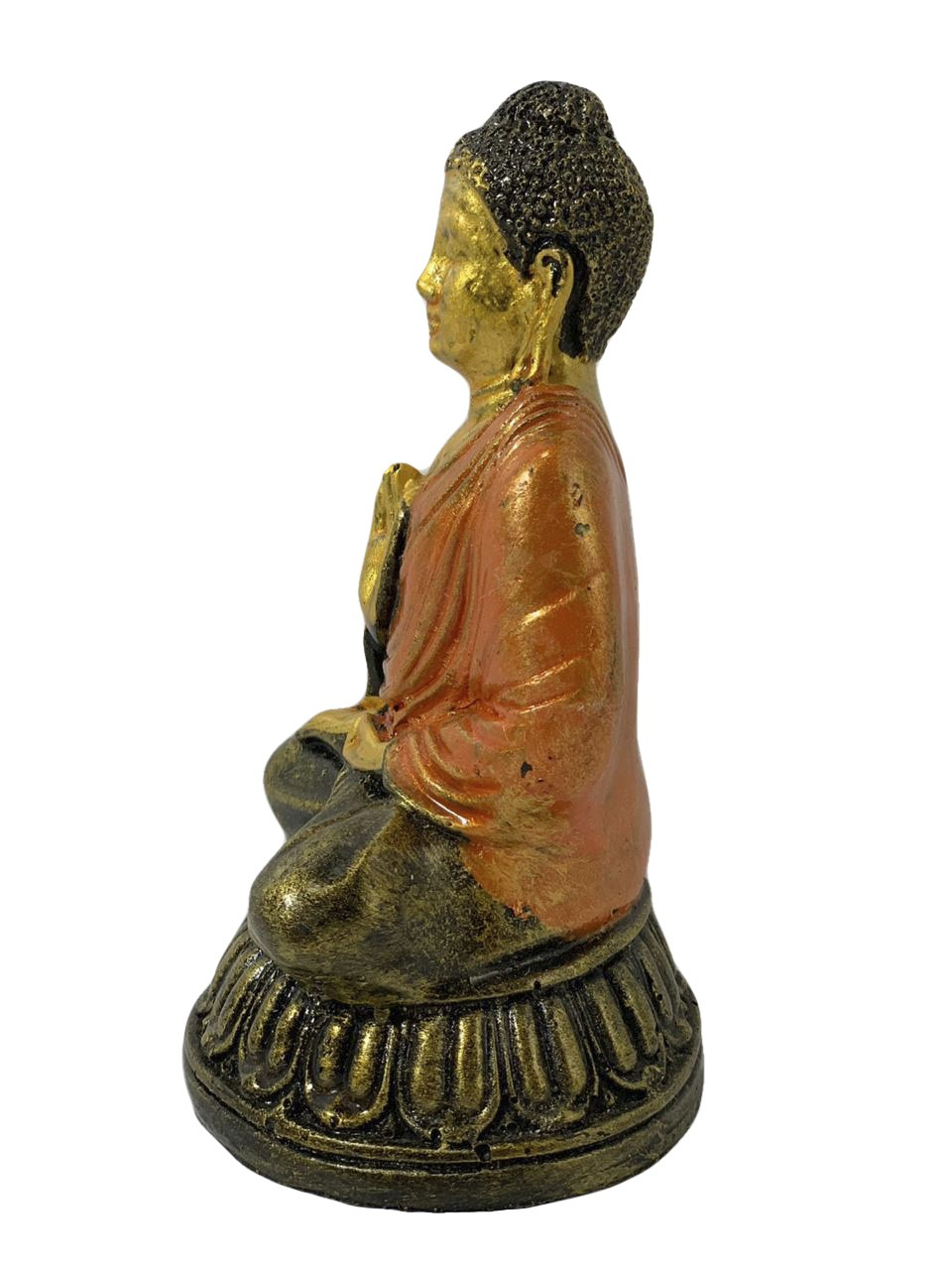 Buda Sidartha em Resina com Robes em Laranja (14cm)