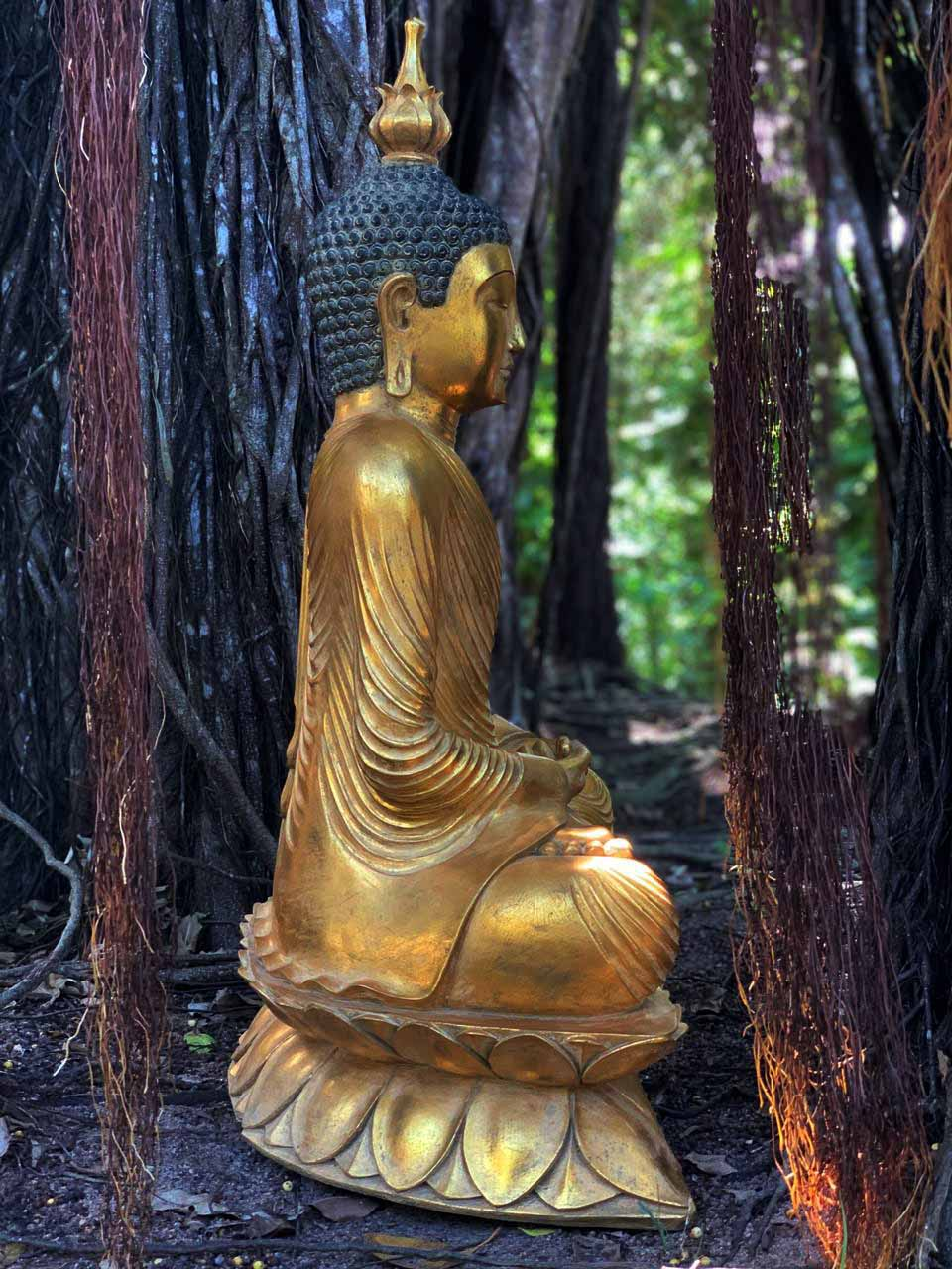 Buda Sidartha em Resina folheada a Ouro (40x105x70cm)