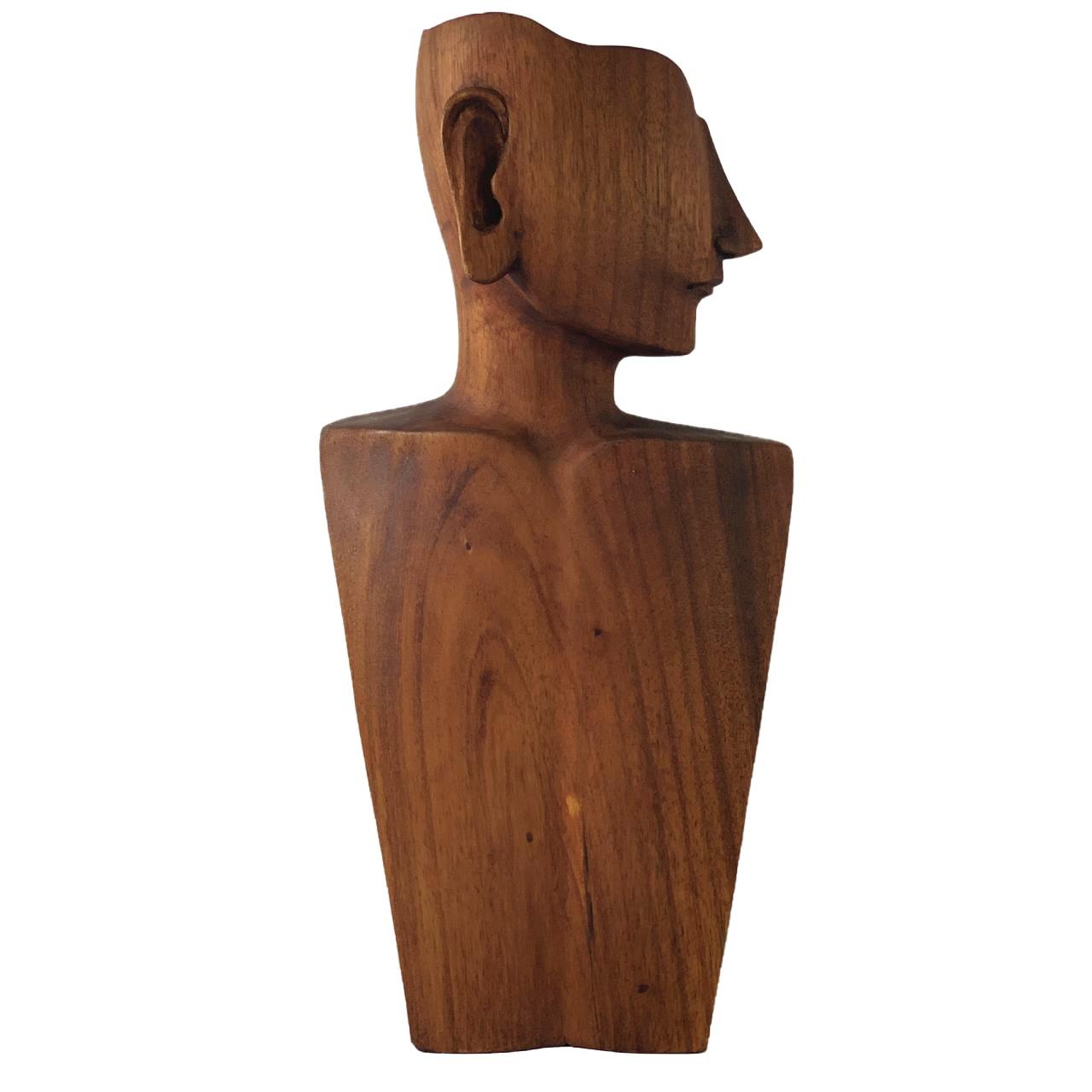 Busto Porta Colar em Madeira com Rosto (39cm)
