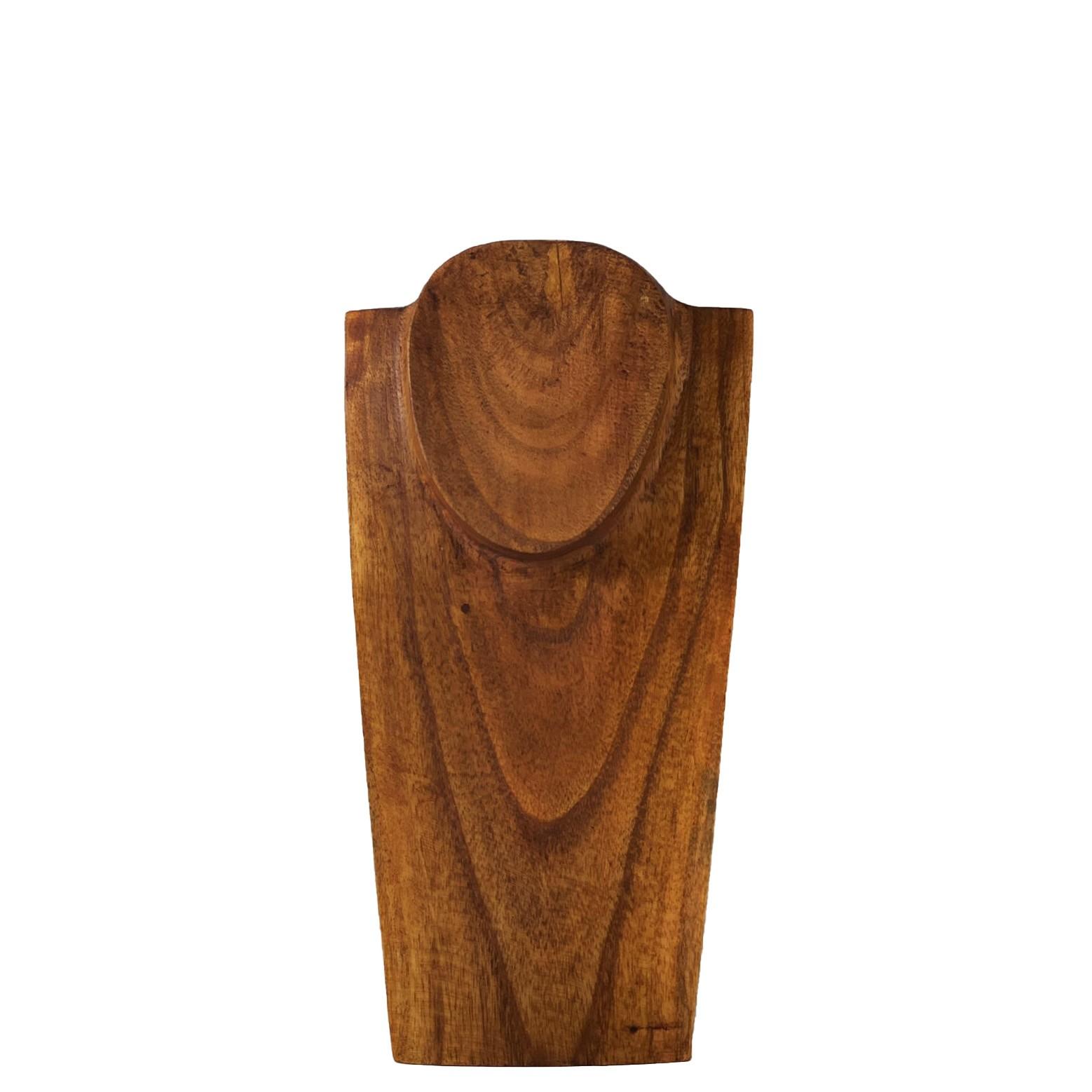Busto Porta Colar em Madeira Escura ( 30cm )