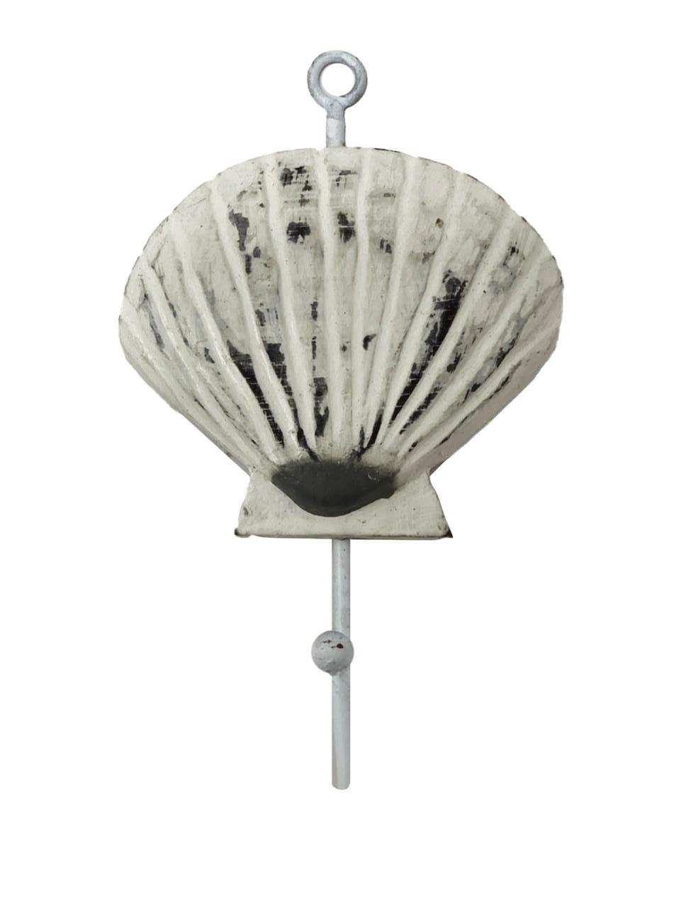 """Cabideiro Concha """"Shell"""" em Madeira Albésia com Gancho de Metal ( 18cm )"""