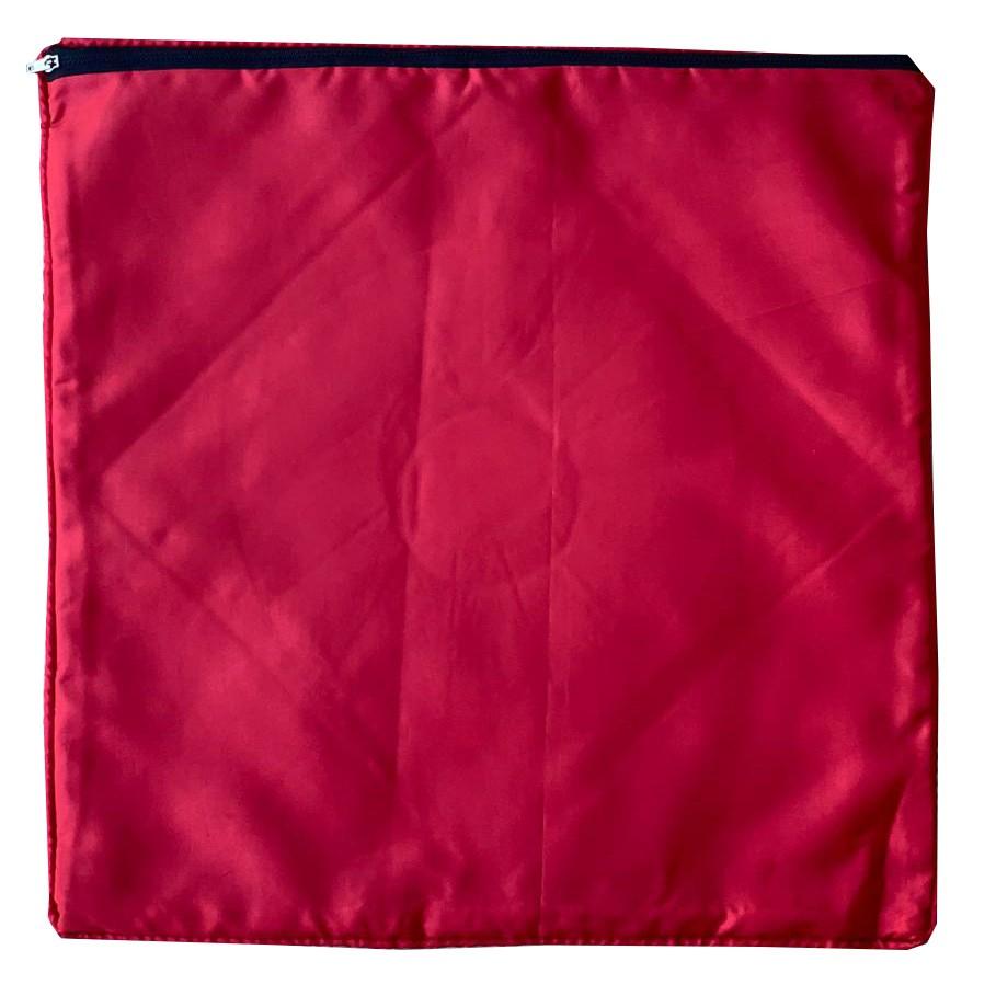 Capa Almofada em Cetim, Algodão e Sari de Seda ( 40x40cm ) [ Vermelha, Amarela ou Laranja ]