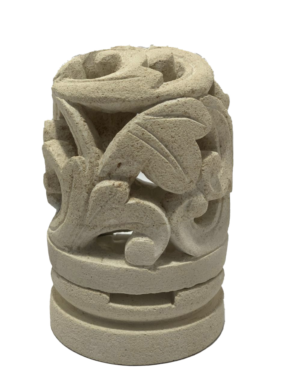 Castiçal em Pedra Areia com Escultura Folhas ( 10x15cm )