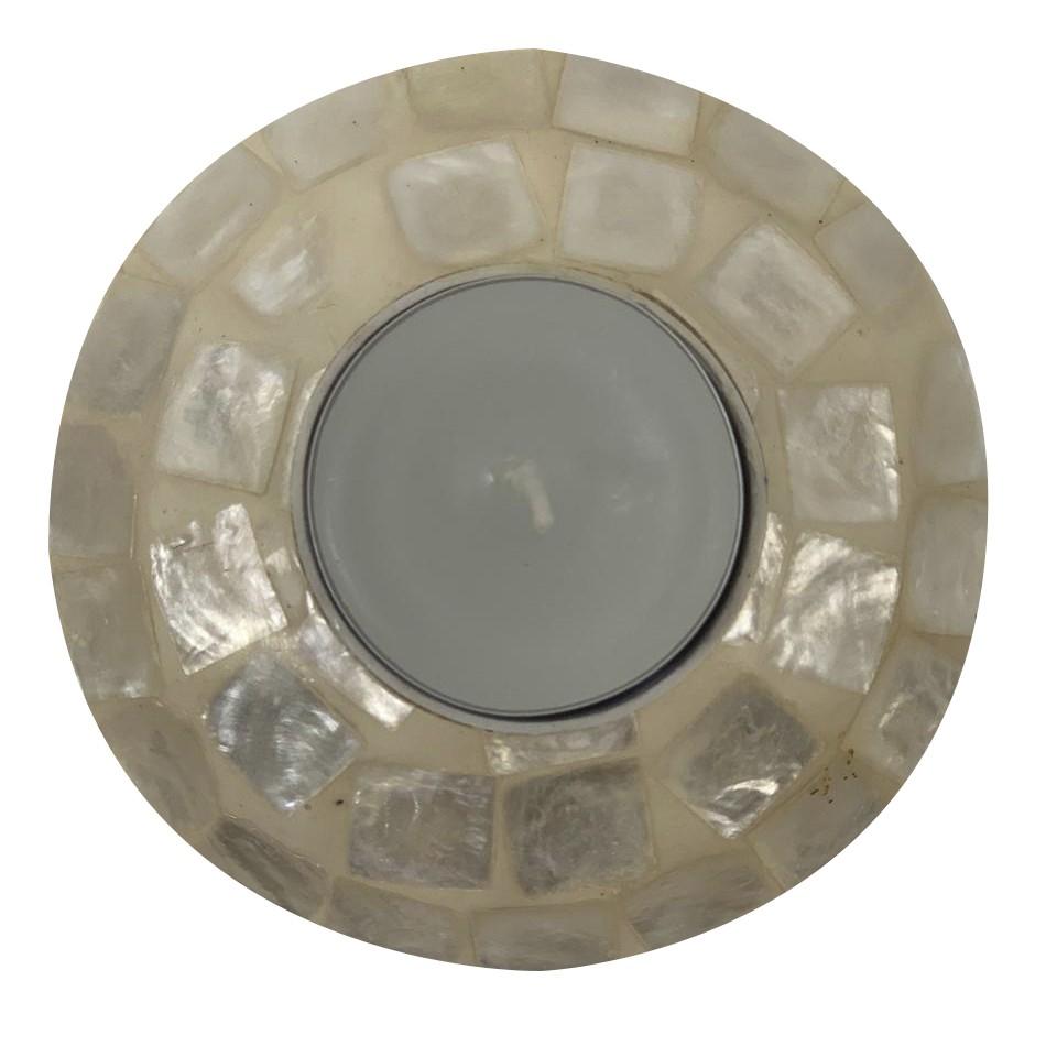 Castiçal em Resina com Mosaico de Madrepérola ( 10x3cm )