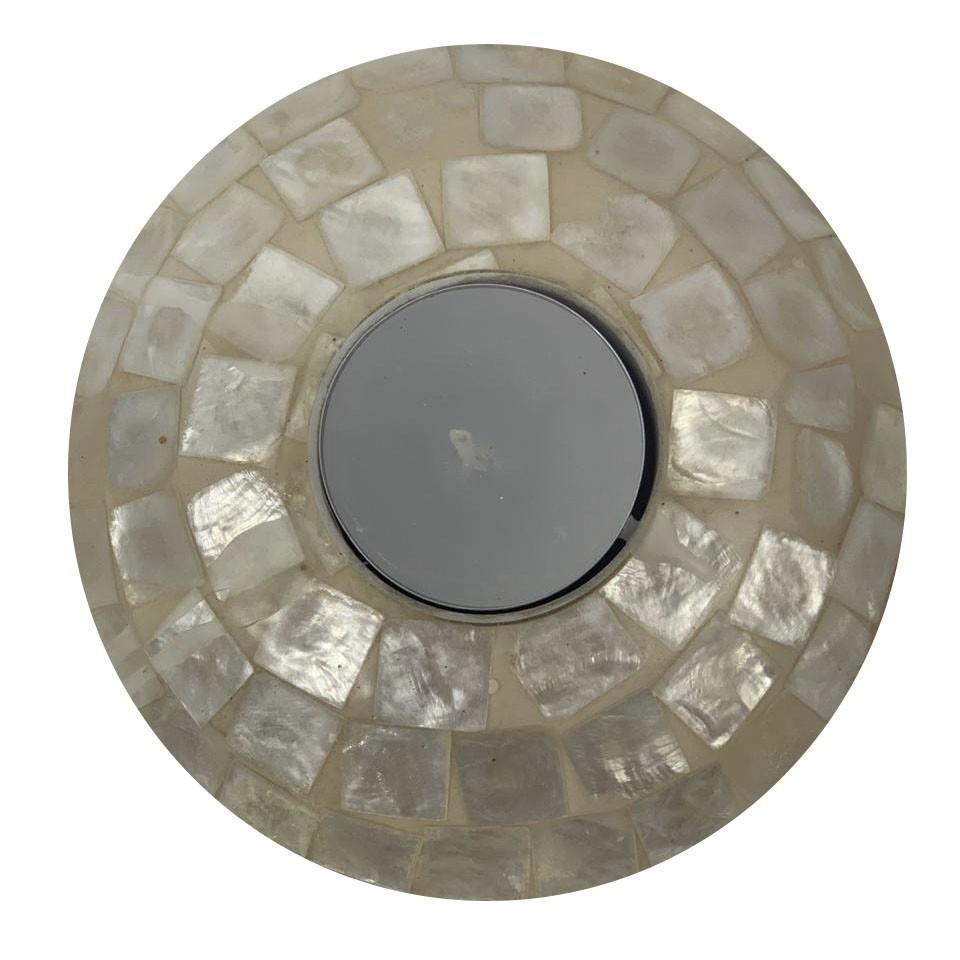 Castiçal em Resina com Mosaico de Madrepérola ( 12x4cm )