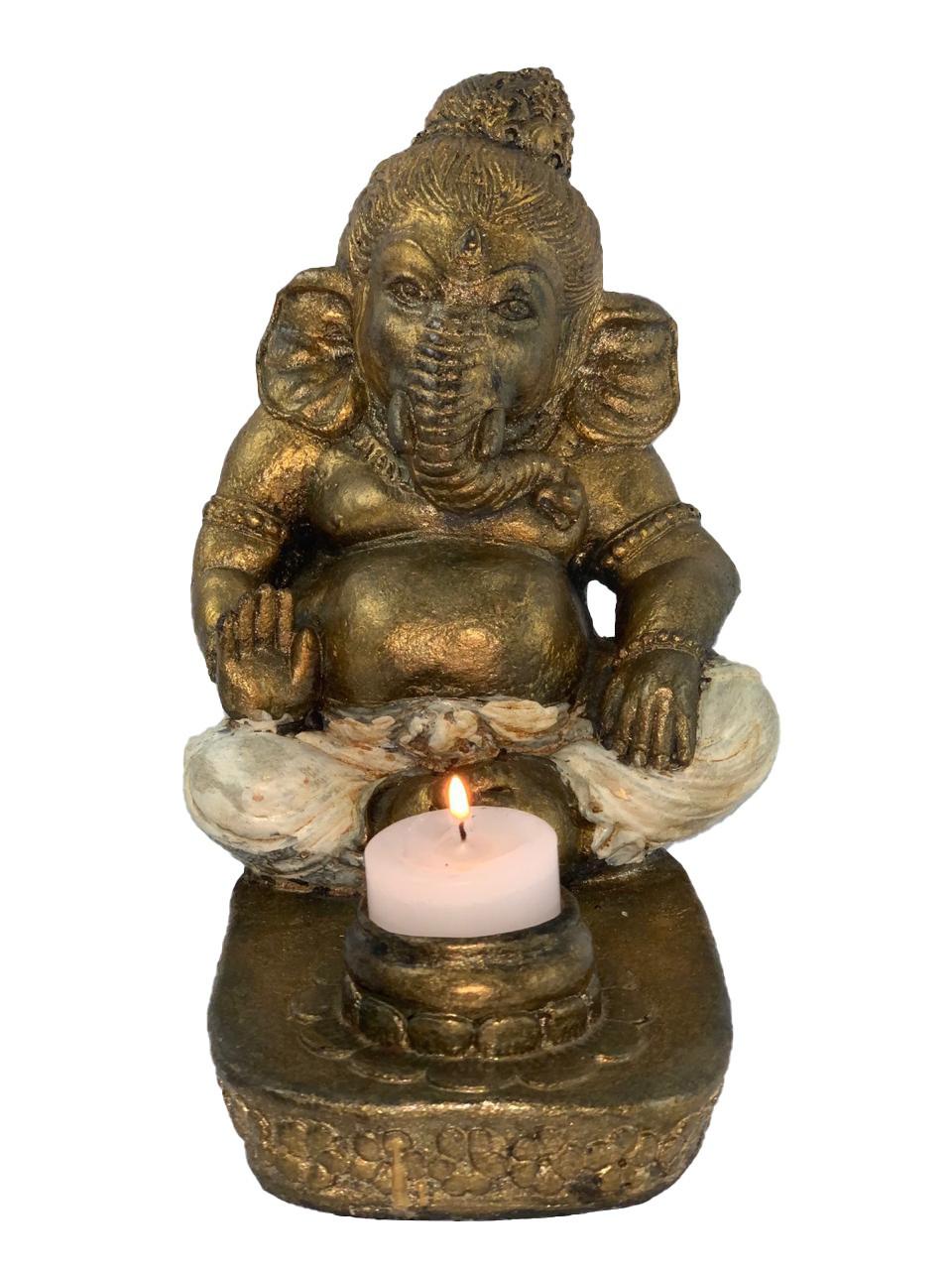 Castiçal Ganesha em Resina ( 20 cm )