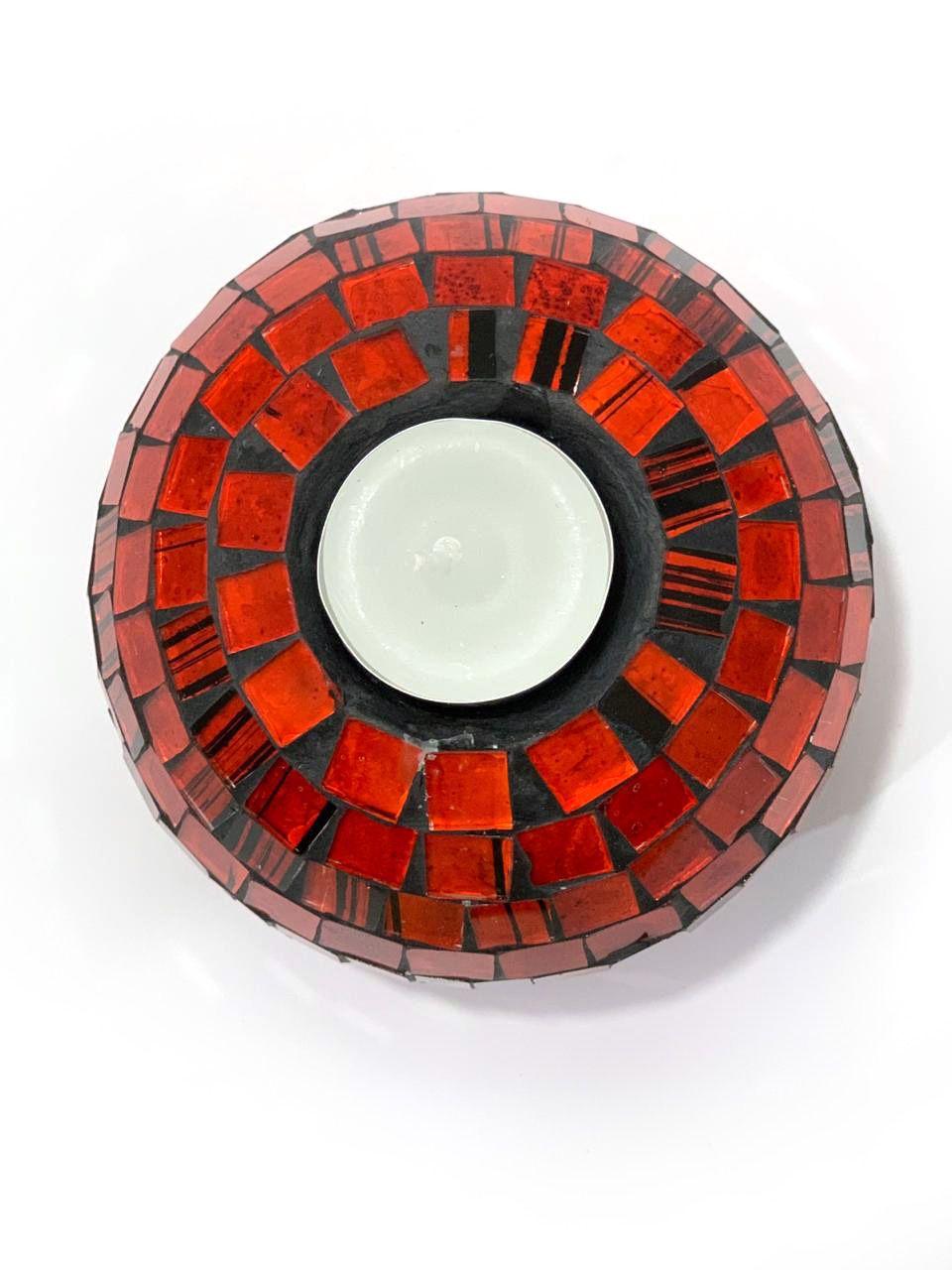 Castiçal Redondo em Cerâmica e Mosaico Laranja ( 10 x 12 cm )