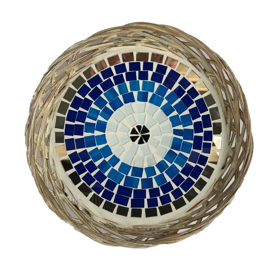 Travessa em Rattan com Mosaico de Olho Grego
