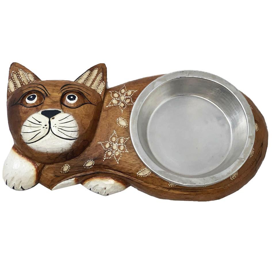 Comedouro para Gatos em Madeira Albésia ( 1 Pote ) Claro