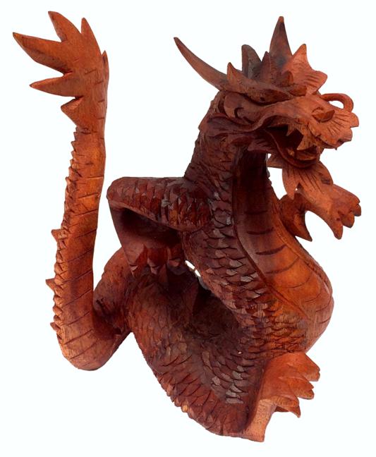 Escultura Dragão Tradicional em Madeira Suar ( 21 cm )