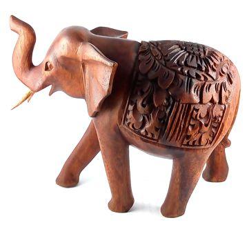 Escultura de Elefante c/ Ornamentos em Alto Relevo ( 17 cm )