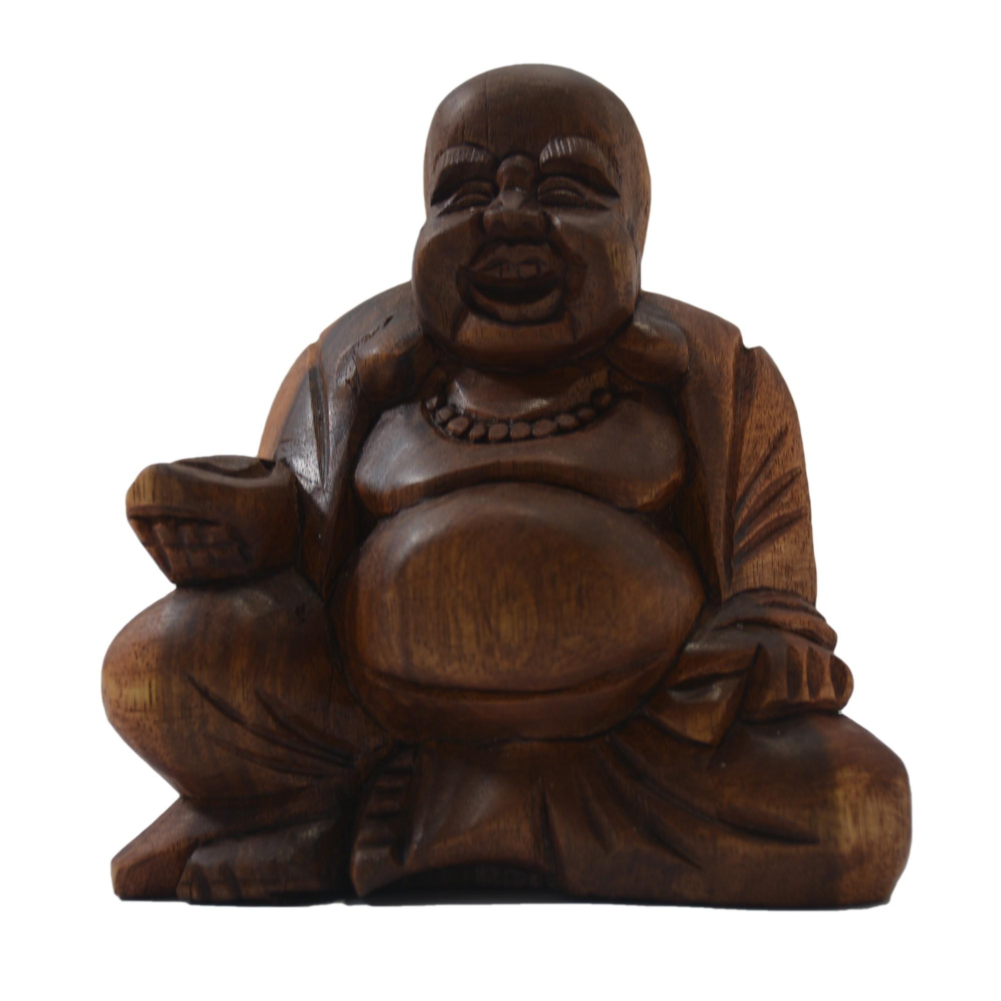 Escultura Buda Maitreya (Hotei) em Madeira Suar em Tom Natural ( 10 cm )