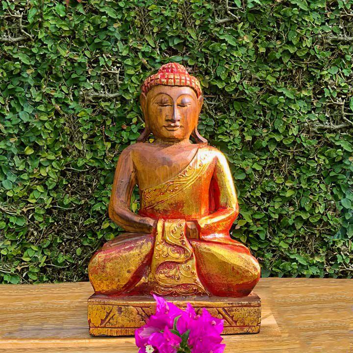 Escultura Buda Sidartha em Madeira Albésia com acabamento em Dourado ( 30 cm )