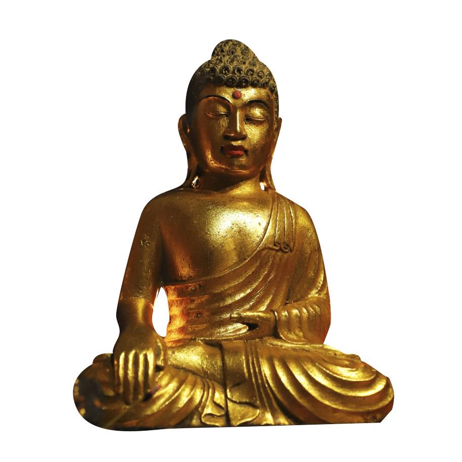 Escultura Buda Sidartha em Resina Dourada com Detalhes em Vermelho ( 25cm )