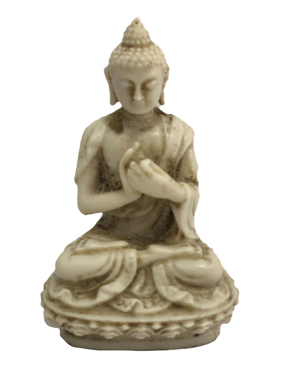 Escultura Buda Sidartha em Resina Marfim ( 10cm )