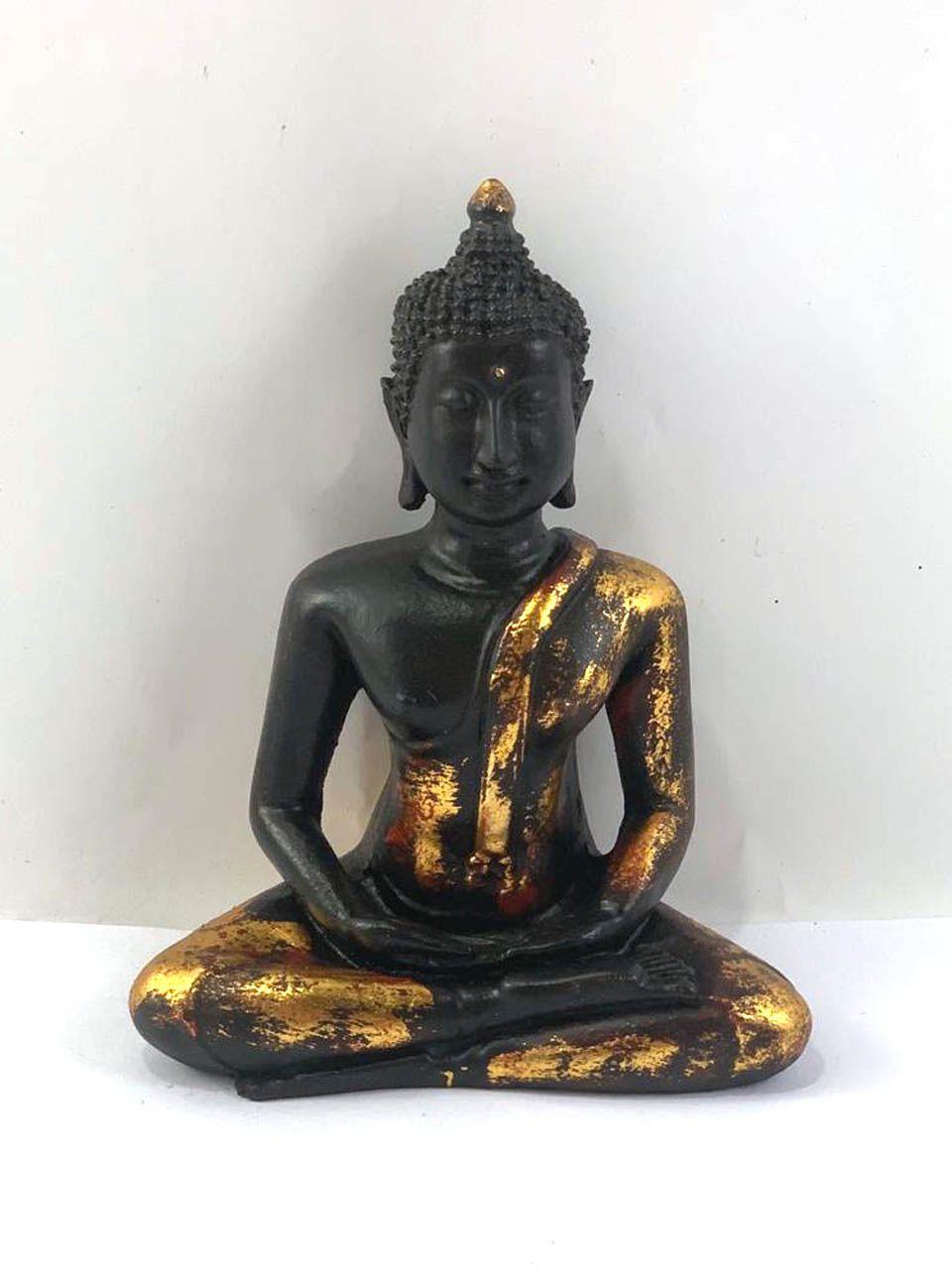 Escultura Buda Sidartha (Preto/Dourado) em Resina (15cm)