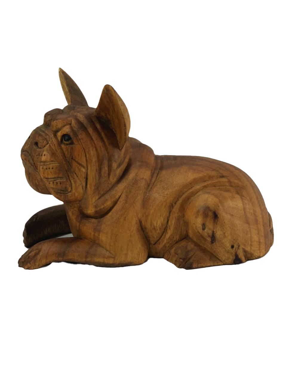 Escultura Buldogue Francês Deitado em Madeira Suar ( 20cm )