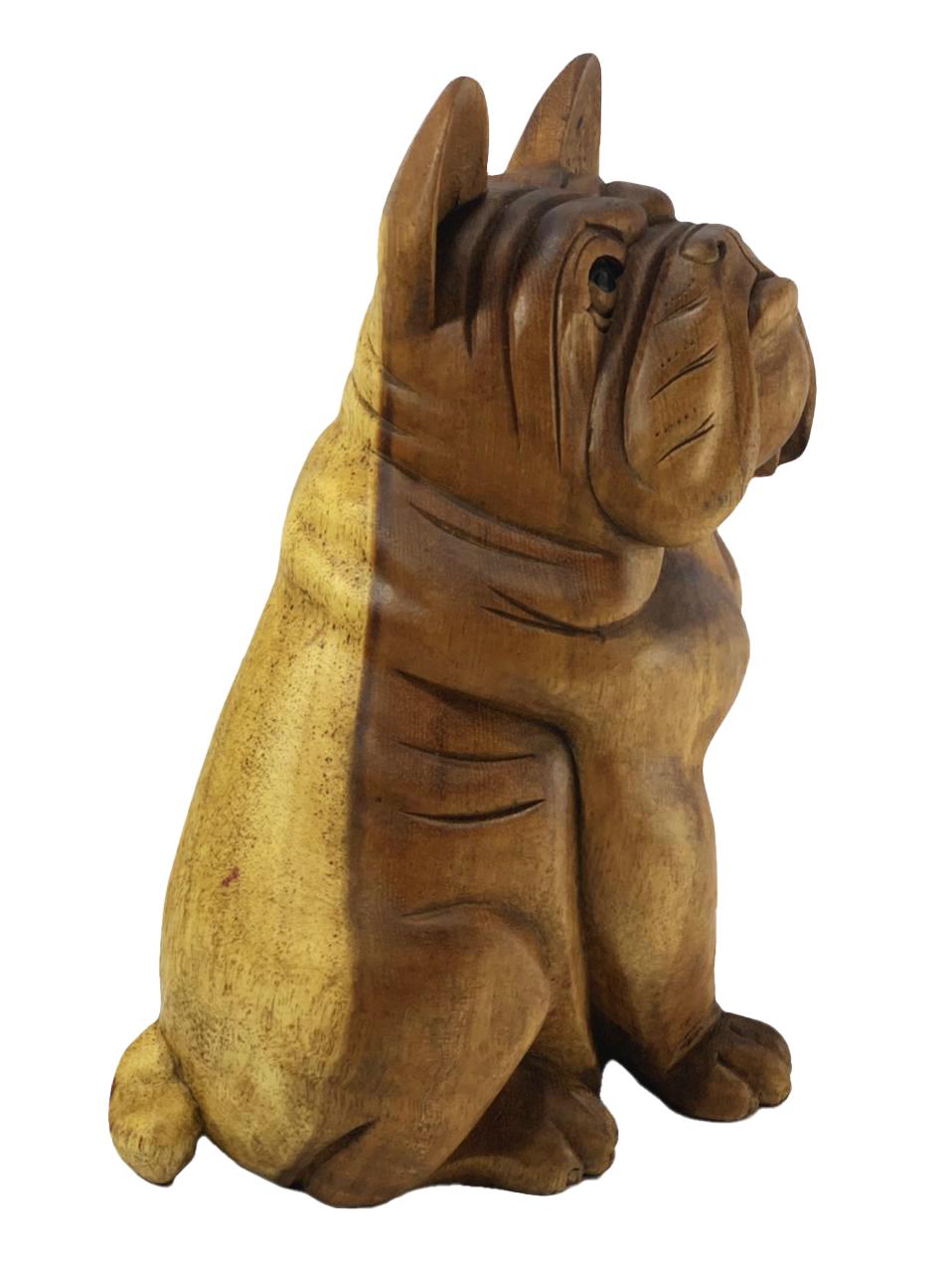 Escultura Buldogue Francês Sentado em Madeira Suar ( 32cm )