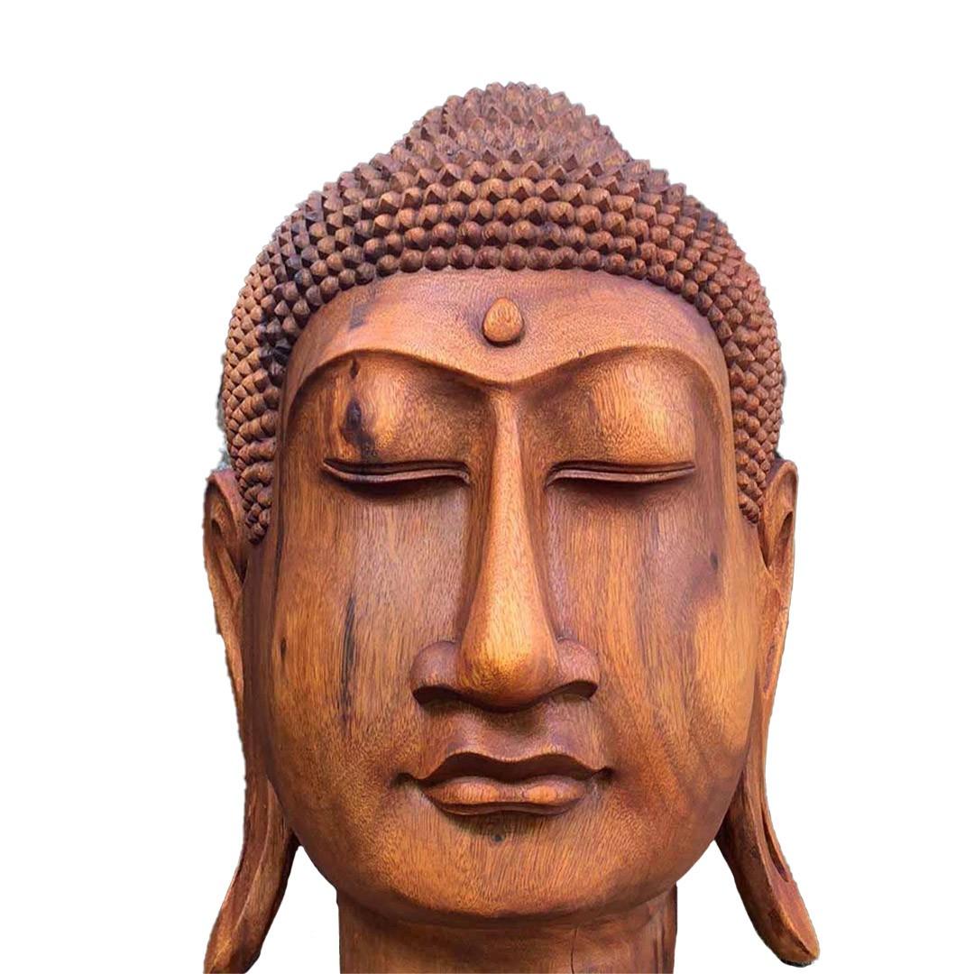 Escultura Cabeça de Buda Sidartha em Madeira Suar (50x60x50cm)