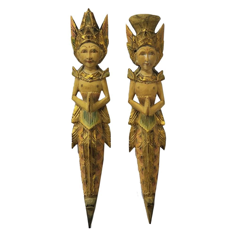 Escultura Casal Rama e Sita para Parede em Madeira Albésia - Patina, Bege, Vermelho, verde, preto e dourado ( 60cm )