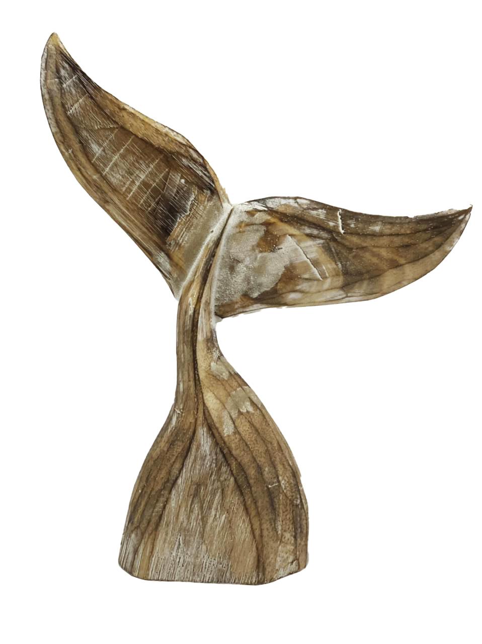 Escultura Cauda de Baleia em Madeira Albésia (de Reflorestamento) em Pátina Natural ( 30cm )