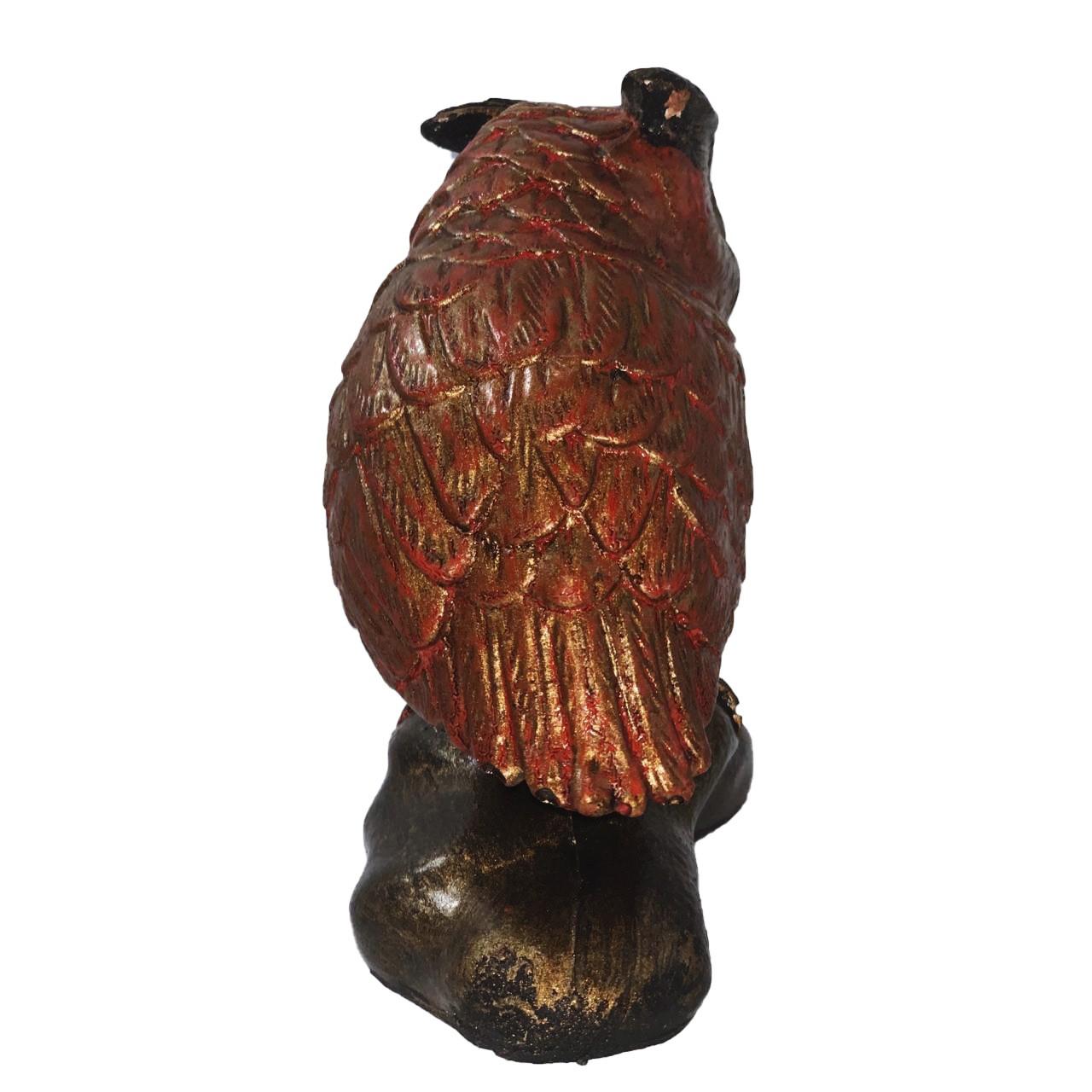 Escultura Coruja em Resina (Alta) - Laranja e Dourado ( 15x7x14cm )