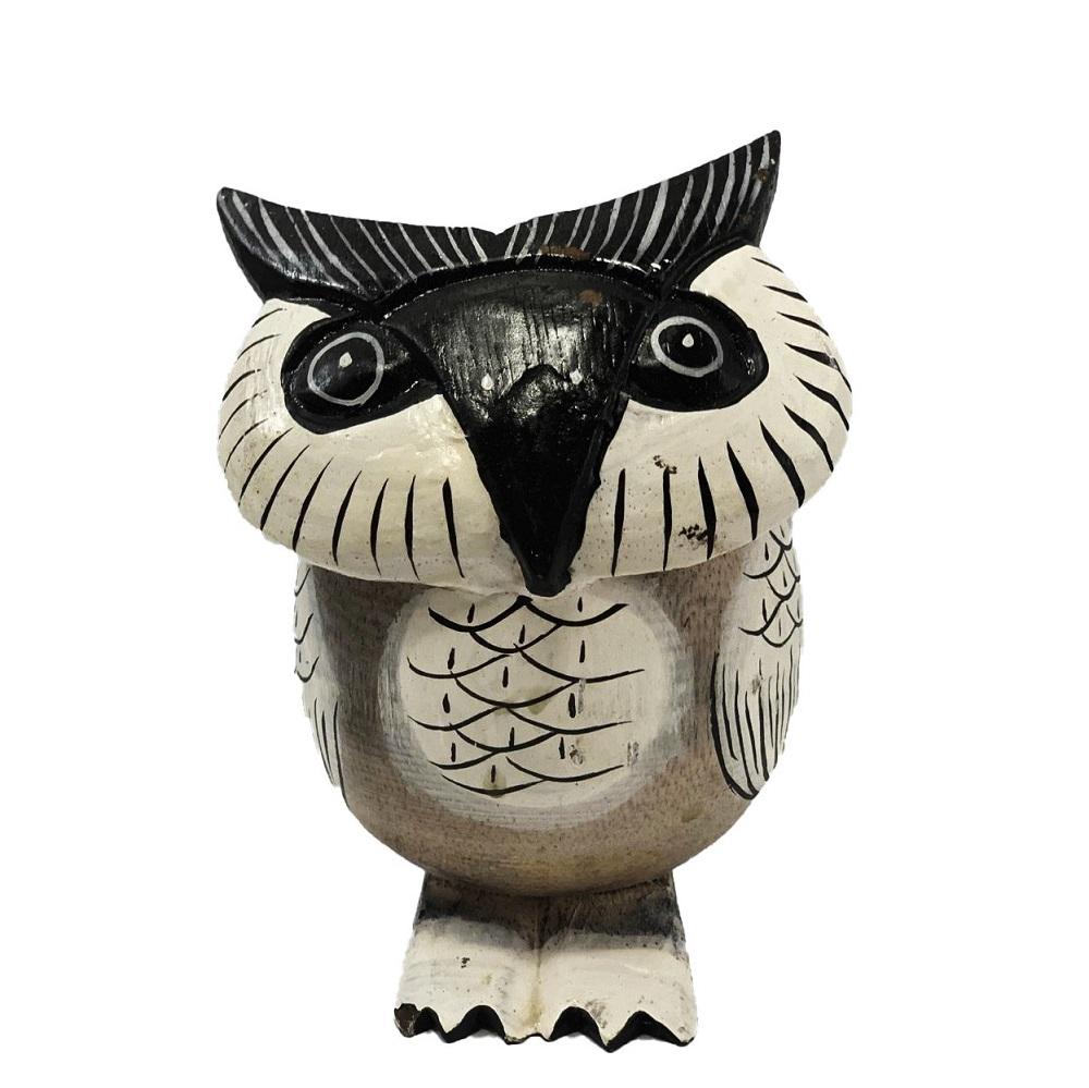 Escultura Coruja em Madeira Albesia [9/12/13cm]