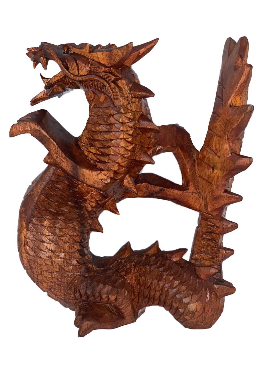 Escultura Dragão Tradicional em Madeira Suar ( 15 cm )